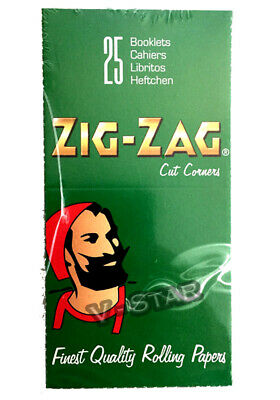 Full Box Of Zig Zag Green Regular Size Smoking Rolling Papers - 25 Booklets