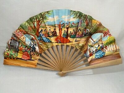 Vintage Hand Fan Painted Wood Fabric 1974 Portugal Dancers Signed Folds Retro