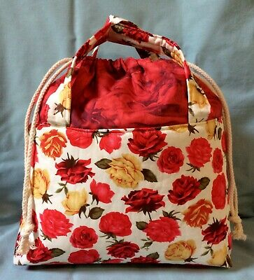 Handmade Floral  Project/Craft Bag Perfect for Knitting/Crochet/Gym/Baby Gear