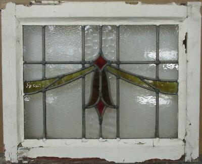 "OLD ENGLISH LEADED STAINED GLASS WINDOW Stunning Sweep Design 20.5"" x 16.75"""