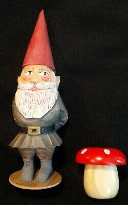 Hand Carved Gnome Elf Tomte Folk Art Painted Wood & Mushroom Easter Christmas