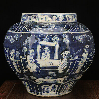 Rare Chinese Antique Ming Blue White Porcelain Figure Pot