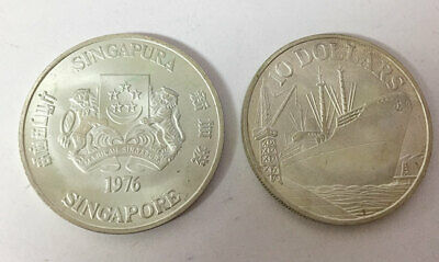 SINGAPORE 10 DOLLAR BOAT 1976 COMM. 10th ANN. of INDEPENDENCE SILVER COIN UNC