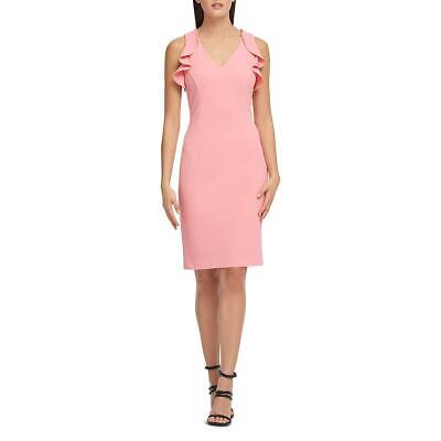 Donna Karan Womens Pink V-Neck Ruffle Sleeve Party Cocktail Dress 12 BHFO 8258