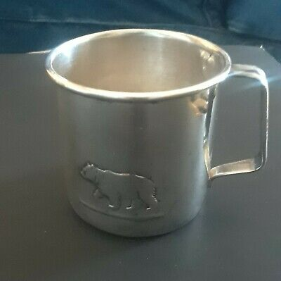 Antique Sterling Silver Baby Cup, with Bear,  RARE David-Andersen 830 S, Norway