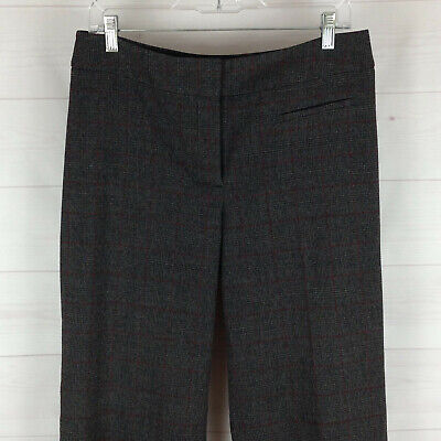 Chico's womens size 1 = 8 stretch gray check flat front dress career pants EUC