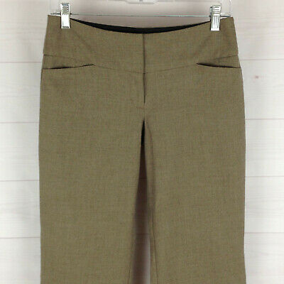 EXPRESS Editor womens size 0S stretch taupe brown flat front flare dress pants