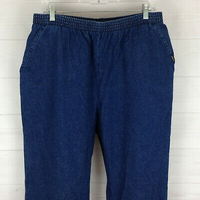 CHIC elastic waist PULL-ON womens 18 x 29.5 med wash 100% cotton relaxed jeans