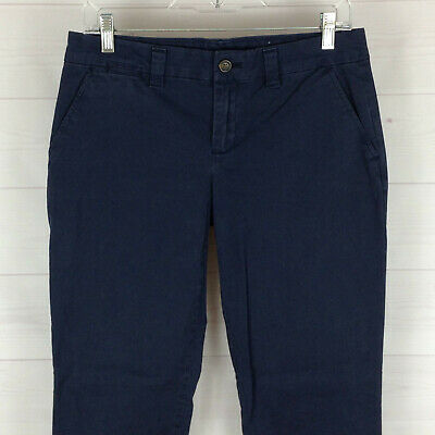 Khakis by GAP womens size 2 x 30 stretch solid navy blue mid rise straight pants