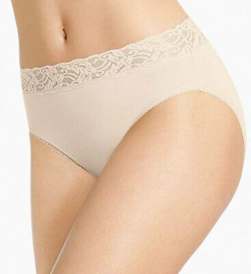New WACOAL 871235 Cotton Suede Hi-Cut Brief Panties M L XL Nude White NWT