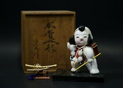 Gosho Ningyo Antique Japanese Ceramic Doll with Wooden Box