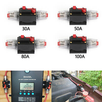 30A - 100A Automatic Circuit Breaker Inline Reset Replace Fuse for Car Audio Red