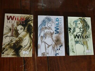 Bulk Lot x 3 ~ Luis Royo Wild Sketches Book 1, 2 and 3 ~ 3 Book Set ~ EXCELLENT