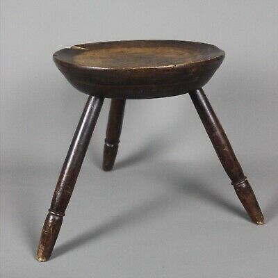 Welsh Sycamore Cheese Top Stool With Ash Legs c1820