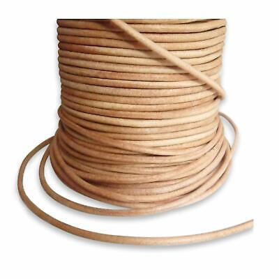 10m roll leather cord round - Ø 1 mm - natural (uncoloured)