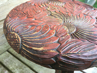 Vintage Japanese Oriental Asian Lacquer Carved Wood Lotus Flower Footstool Seat