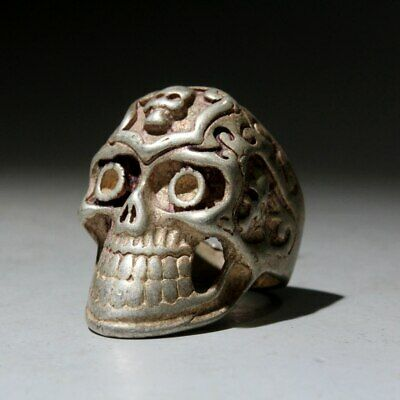 Collectable Old Miao Silver Hand-Carved Skull Head Beautiful Exorcism Noble Ring