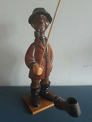 Vintage Italy Hand Carved Wood Fishing Man Pipe Boot Sculpture