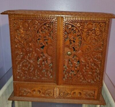 ANTIQUE ASIAN WOOD HAND CARVED TABLE CABINET w Doors & Drawers