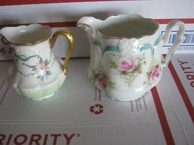 "Vintage Pair Of Porcelain Creamers Floral Motifs 3"" & 3.5"" Excellent Condition"