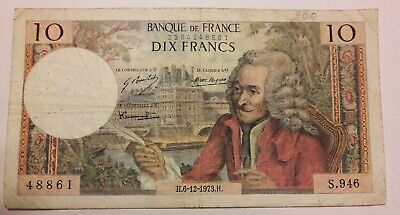 10 Francs, 10 F 1963-1973 ''Voltaire'', 1973, 1973-12-6, B+ France #F3#