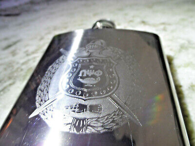 Omega Psi Phi Flask: 6 OZ: Polished Stainless Steel: Laser Engraved Shield!