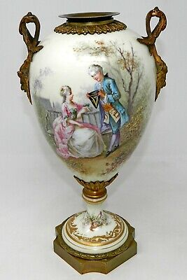 An Antique Sevres Porcelain Urn Gold Bronze Mounts Signed