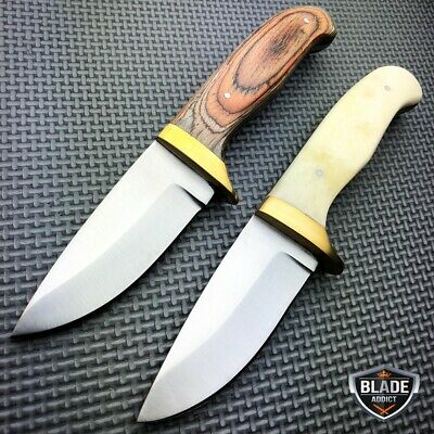 "7.5"" Hunting Survival Skinning Fixed Blade Knife Full Tang + Leather Sheath New"
