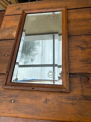 Early Queensland Railway Beveled Edge Mirror With Etched QR logos Original Frame