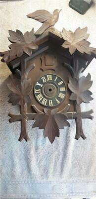 German Cuckoo Clock Wooden Clock Case with Trim and Leaves Parts or Repair F51