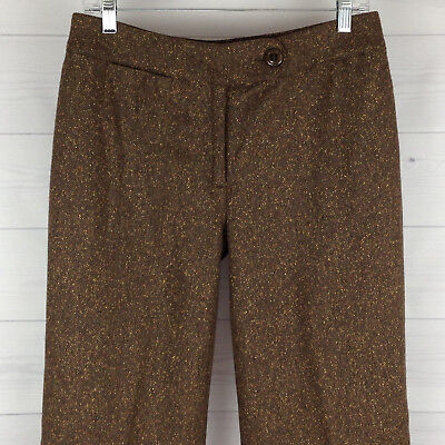 TRIBAL Womens Size 8 Brown Speckled Wool Cotton Blend Fully Lined Straight Pants