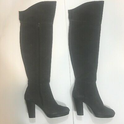 "Nine West Loysa Sleek Tall Over The Knee Gray Suede Leather 3.5"" Heel Boots 6.5"