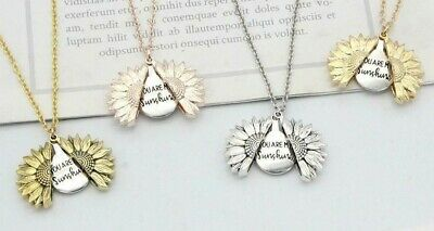 """You Are My Sunshine"" Sunflower Open Locket Pendant Womans Necklace Jewelry Gift"