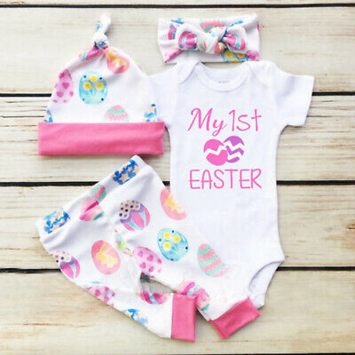 My 1st Easter Newborn Infant Baby Girl Boy Romper+Pants+Hat 4Pcs Outfits Clothes