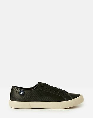 Joules Womens Coast Pump Faux Leather Trainers - BLACK