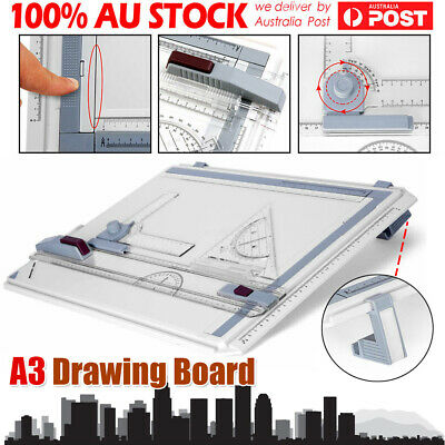 Ergonomic A3 Drawing Board Drafting Table + 2 Parallel Rulers and 2 Corner Clips