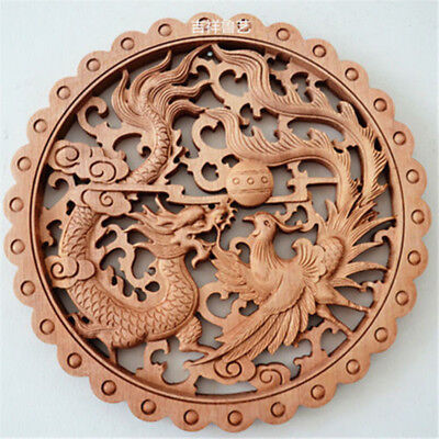 Art ! Chinese Hand Carved Long Feng Statue Camphor Wood Plate Wall Sculpture