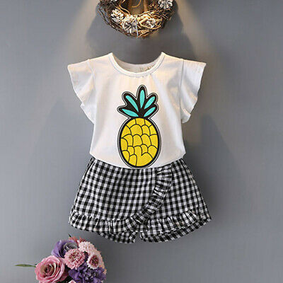 Summer Children'S Suit Toddler Kids Baby Girls Outfits Clothes Pineapple Sh E6B8