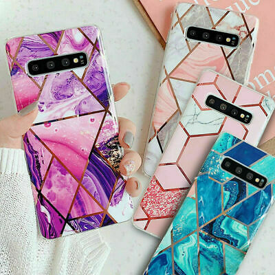 For Samsung Galaxy S8 S9 S10 20 Plus Marble Shockproof Silicone Phone Case Cover