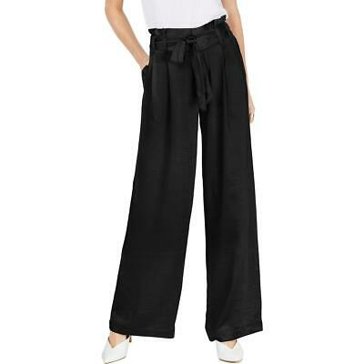 INC Womens Black Paper Bag Wide- Leg Tie-Waist Wide Leg Pants 8 BHFO 7597