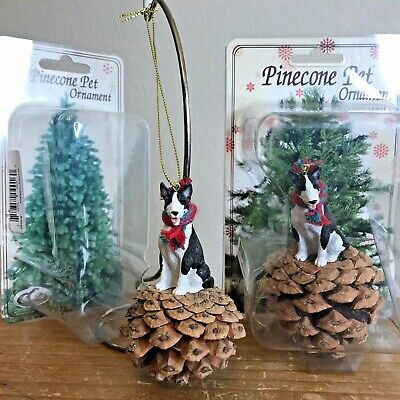 Bull Terrier Christmas Ornament Lot of 2 Red Pinecone Brindle Dog Ornaments New