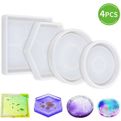 Silicone Mold Ashtray Epoxy Resin Plaster DIY Mould Craft Eco-Friendly Pack of 4