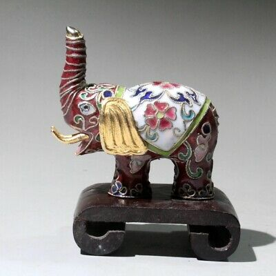 Collectable China Old Cloisonne Hand-Carved Lovely Elephant Bring Lucky Statue
