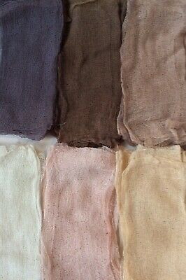 HAND-DYED. GAUZE. FABRIC. PIECES - Shades of Browns and Cream