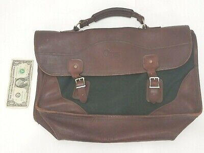 Orvis Battenkill Luggage 1996 Mens Shoulder Bag Attache Leather Brown Green 17""