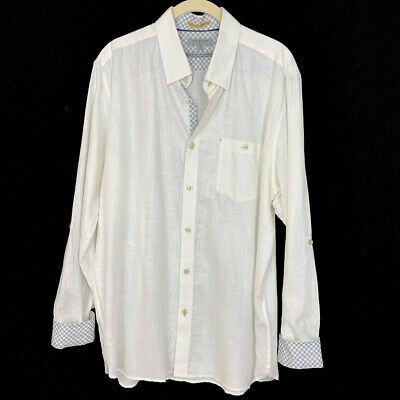 Ted Baker London Mens Sz 5 XL Laavno Extra Slim Fit Linen Blend Sport Shirt