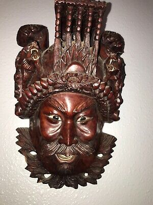 Vintage African Hand Carved Wooden Tribal Face Mask
