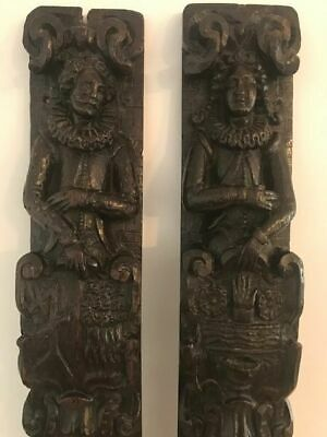 17th century couple carved in oak Pilastras or Terms - Oak -