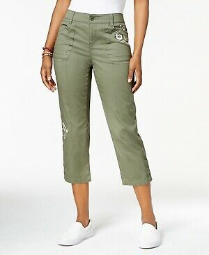 Style & Co Women's Embroidered Capri Olive Sprig Pants Size 6