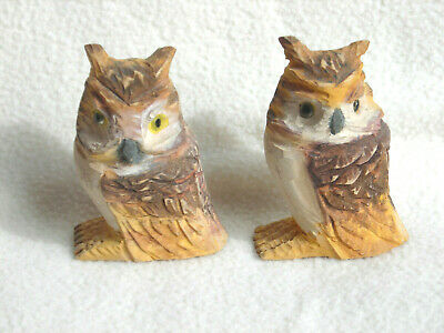 Set of Two Vintage Hand Carved & Painted Wooden Great Horned Owls
